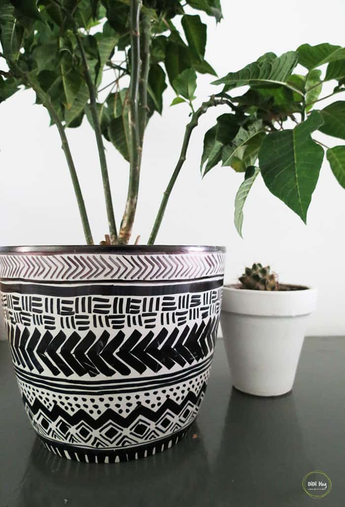 mud cloth inspired planter