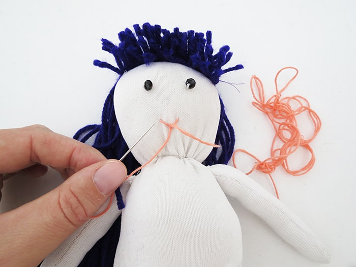 How to make a sock doll stiching face