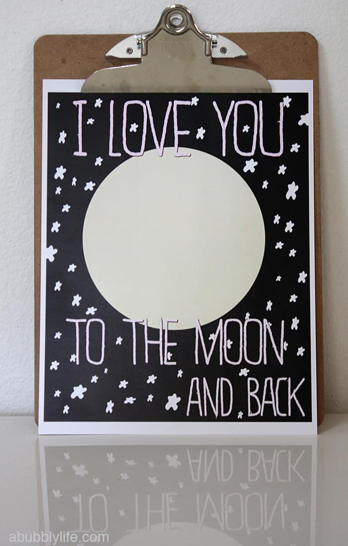 free valentine's card moon and back