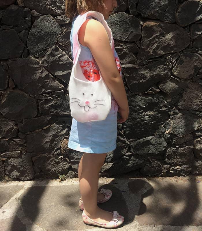 wearing bunny bag