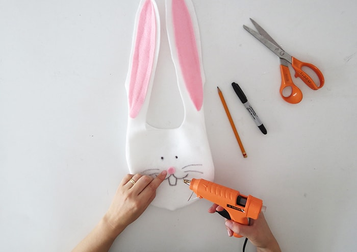 making a bunny bag for easter