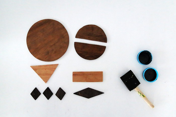 stain wood pieces for diy wall art