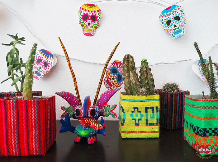 mexican decoration with DIY planters