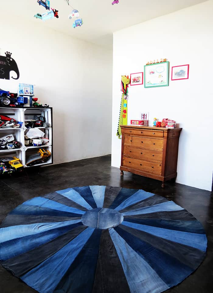 kid's bedroom with DIY recycled denim rug