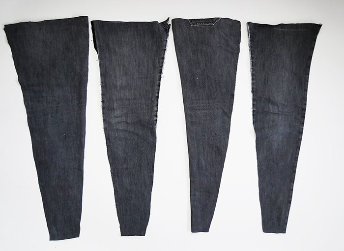 denim pieces to make a rug