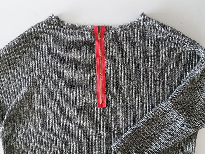 sewing zipper on sweater