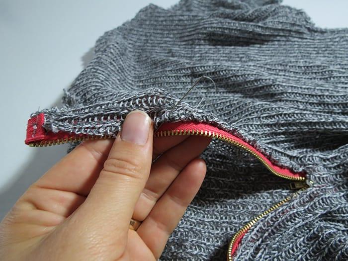 finishing zipper on sweater