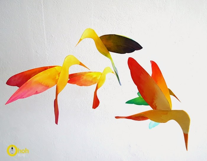 flying diy paper hummingbirds